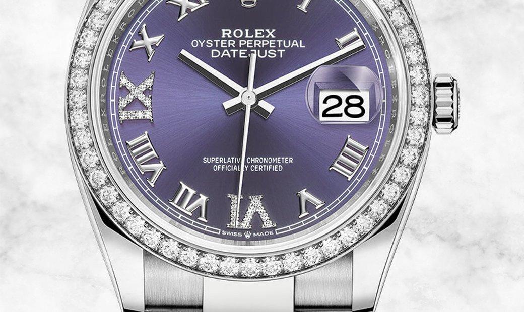 Rolex Datejust 36 126284RBR-0014 White Rolesor Diamond Set Bezel and Aubergine Dial Oyster Bracelet
