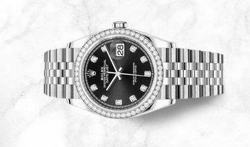 Rolex Datejust 36 126284RBR-0019 White Rolesor Diamond Set Black Dial Diamond Bezel Jubilee Bracelet