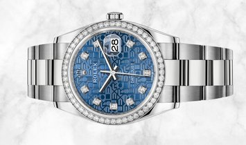 Rolex Datejust 36 126284RBR-0004 White Rolesor Diamond Set Bezel and Blue Jubilee Dial