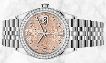 Rolex Datejust 36 126284RBR-0015 White Rolesor Pink Jubilee Diamond Set Dial and Bezel
