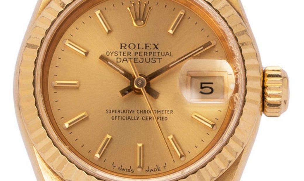 Rolex Lady-Datejust 69178, Baton, 1991, Good, Case material Yellow Gold, Bracelet mater