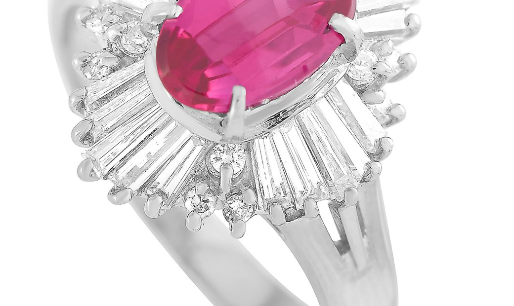LB Exclusive LB Exclusive Platinum 0.68 ct Diamond and Ruby Ring
