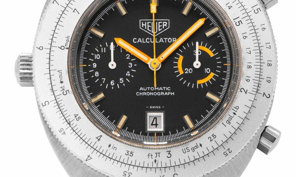 Heuer Calculator 110.633B, Baton, 1972, Used, Case material Steel, Bracelet material: S