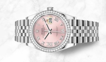 Rolex Datejust 36 126284RBR-0023 White Rolesor Diamond Set Pink Dial Diamond Bezel Jubilee Bracelet