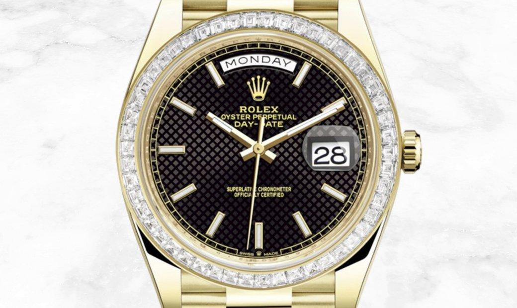 Rolex Day-Date 40  228398TBR-0004 18Ct Yellow Gold Black Diagonal Dial Diamond Bezel
