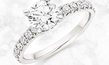 14K White Gold Classic Round Cut Diamond Engagement Ring