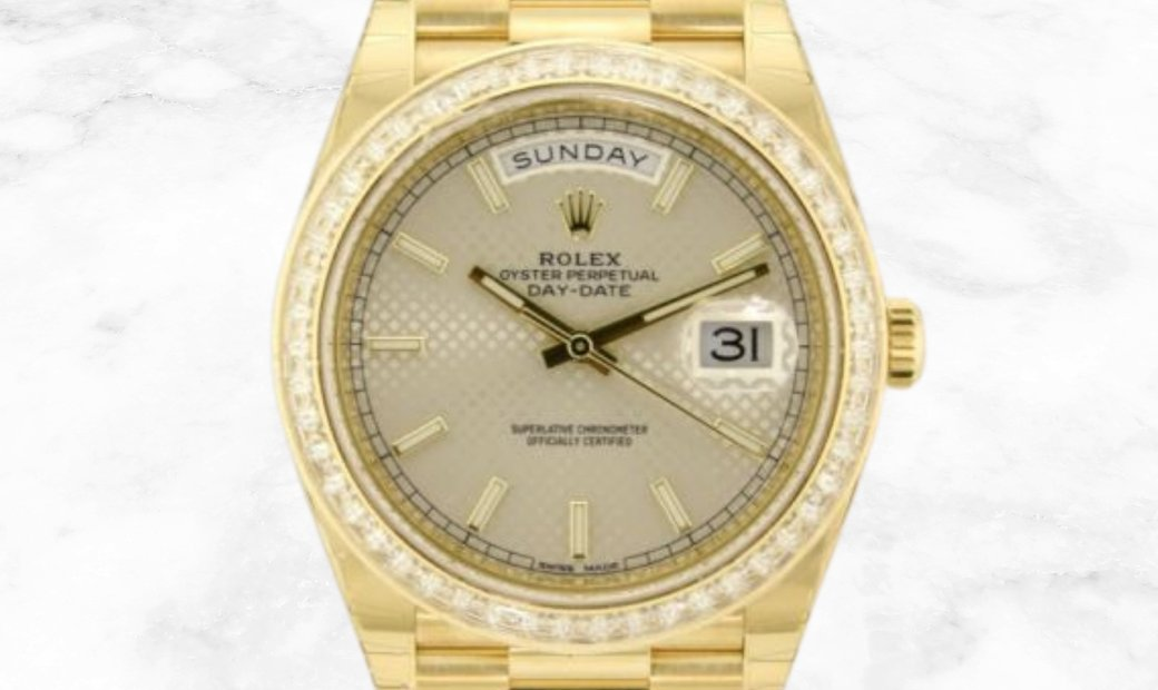 Rolex Day-Date 40  228398TBR-0005 18Ct Yellow Gold Silver Diagonal Dial Diamond Bezel