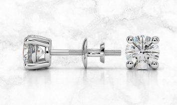 14K White Gold Round Diamond Stud Earrings