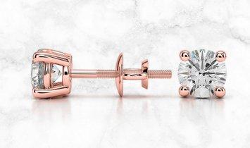 14K Rose Gold Round Diamond Stud Earrings