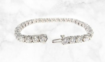 14k White Gold Single Row Diamond Tennis Bracelet