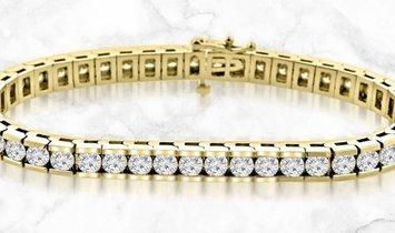 14K Yellow Gold Round Cut Diamond Tennis Bracelet in Channel Setting
