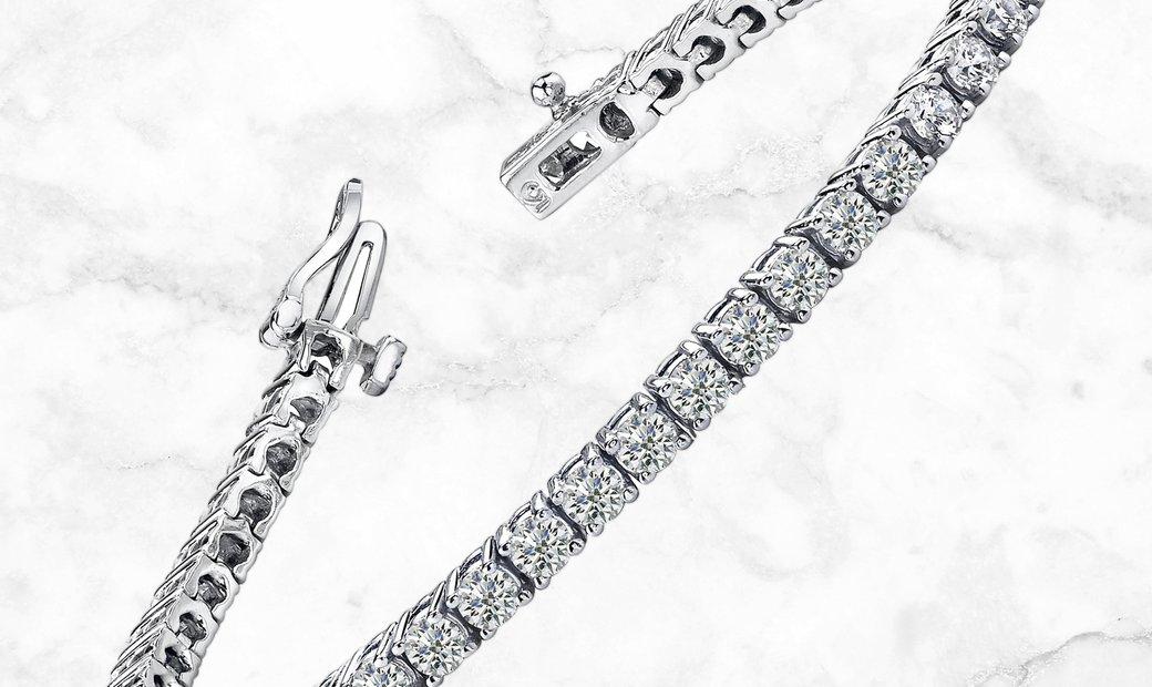 18K White Gold Single Row 5 Ct Diamond Bracelet