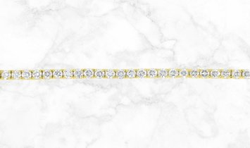 18K Yellow Gold Single Row Diamond Tennis Bracelet