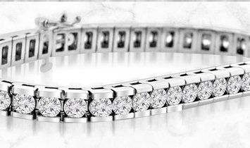 14K White Gold Round Cut Diamond Tennis Bracelet in Channel Setting