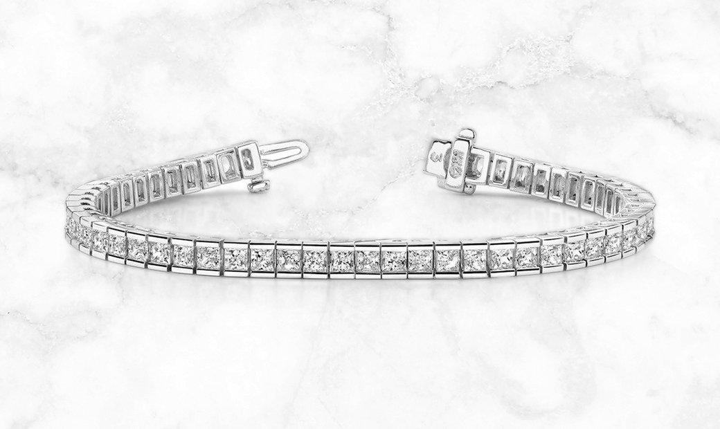 14K White Gold Princess Cut Diamond Tennis Bracelet in Channel Setting