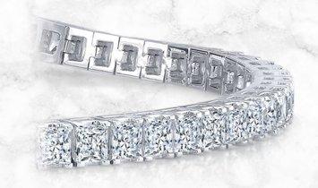 14K White Gold Princess Cut Diamond Line Tennis Bracelet