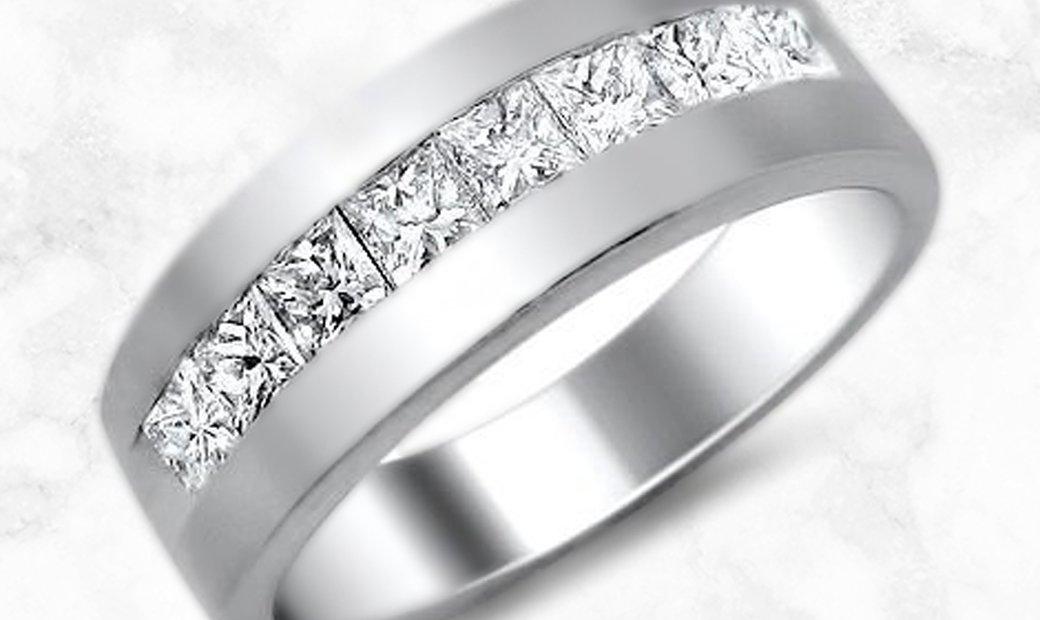 Platinum Mens Princess Cut Diamond Wedding Band