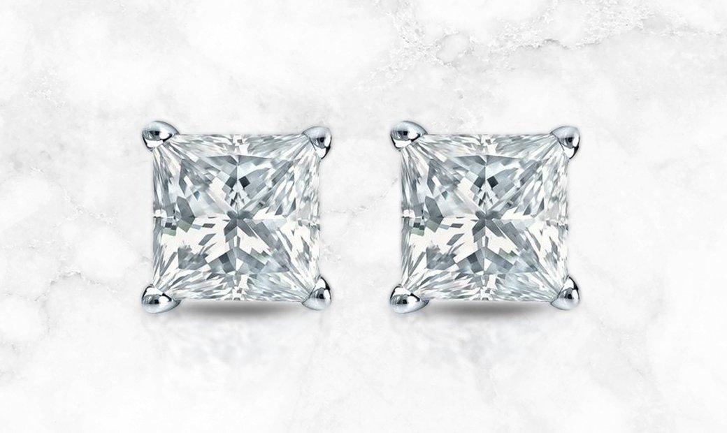 14k White Gold 4-Prong Basket Princess-Cut Diamond Stud Earrings
