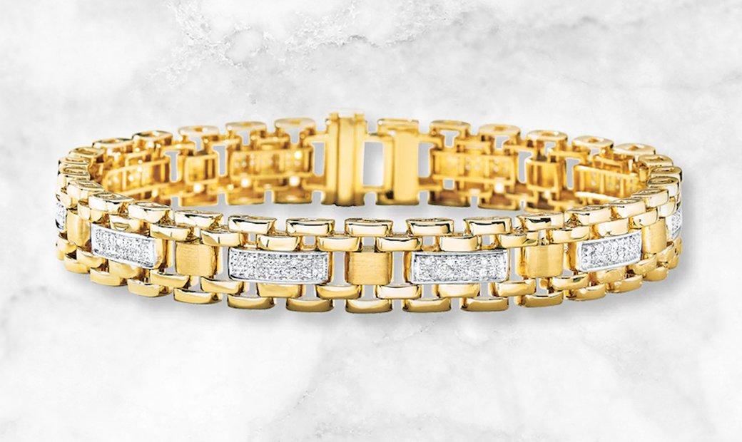 10K Yellow Gold Mens ¾ Ct Diamond Bracelet