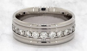 14k White Gold Comfort-Fit Diamond Band in Channel Setting