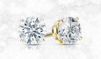 14k Yellow Gold 4-Prong Basket Hearts & Arrows Diamond Stud Earrings