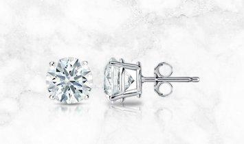 14K White Gold 4-Prong Basket Hearts & Arrows Diamond Stud Earrings