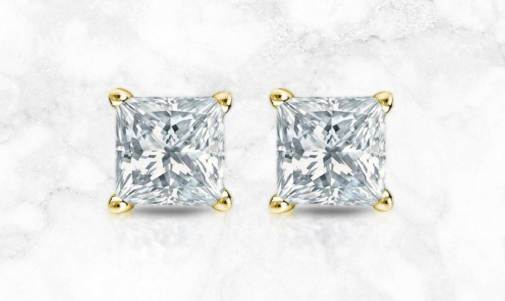 14K Yellow Gold 4-Prong Basket Princess Cut Diamond Stud Earrings