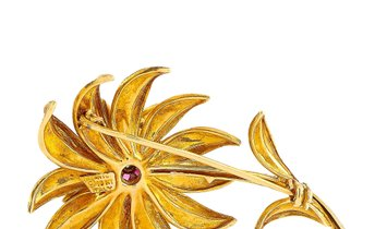 Tiffany & Co. Tiffany & Co. 18K Yellow Gold Diamond and Ruby Flower Brooch