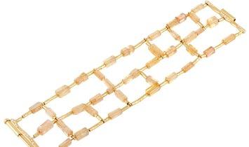 H. Stern H. Stern 18K Yellow Gold Diamond and Imperial Topaz Bracelet