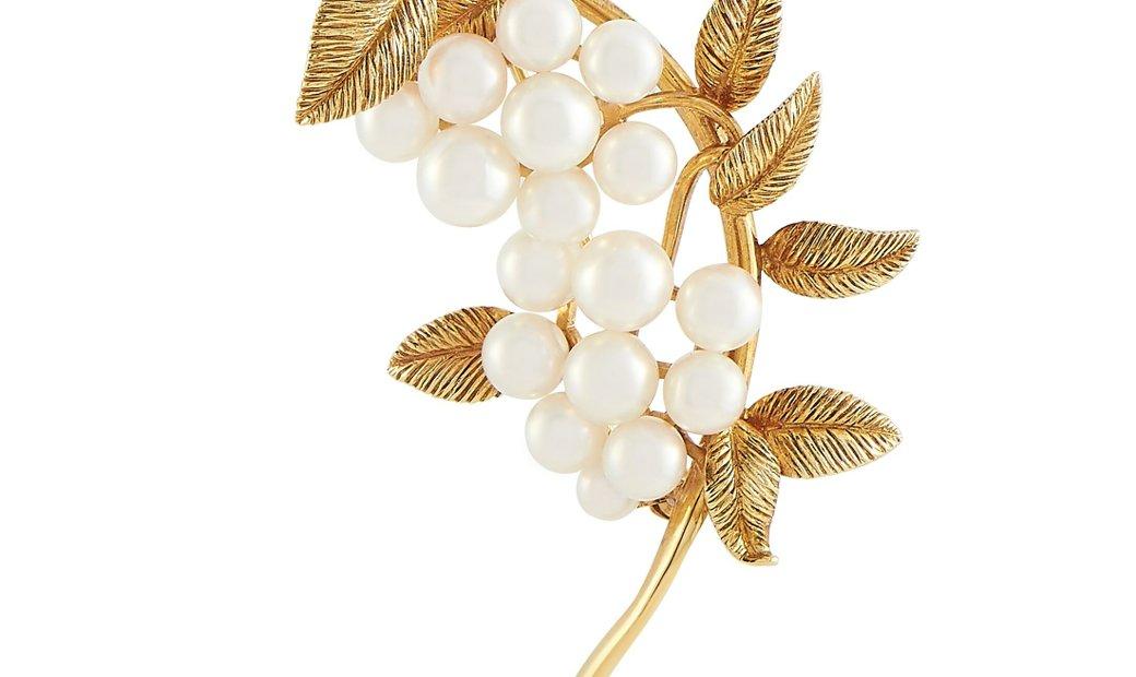 Mikimoto Mikimoto 18K Yellow Gold Pearl Brooch