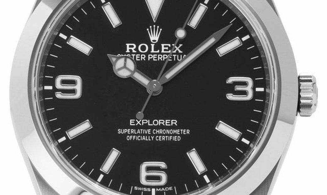 Rolex Explorer 214270, Arabic Numerals, 2020, Very Good, Case material Steel, Bracelet