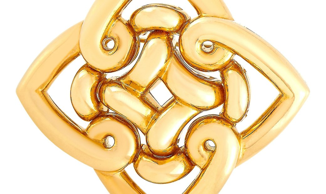 Bvlgari Bvlgari 18K Yellow Gold Sculpted Brooch