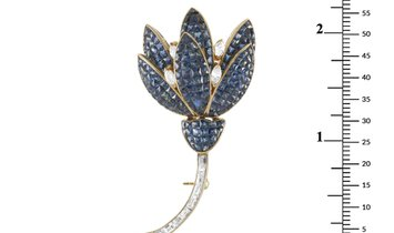 LB Exclusive LB Exclusive 18K Yellow Gold 1.60 ct Diamond and Sapphire Brooch