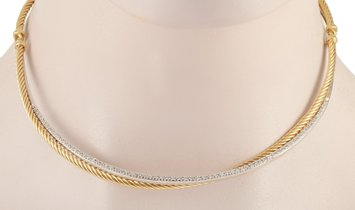David Yurman David Yurman Crossover 18K Yellow/White Gold ~0.60 ct Diamond Cable Necklace
