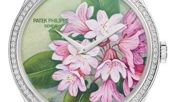 PATEK PHILIPPE RARE HANDCRAFTS CALATRAVA PORTRAITS OF FLOWERS LADIES WATCH Ref. 5077/100G-035