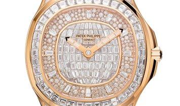 PATEK PHILIPPE AQUANAUT LUCE HAUTE JOAILLERIE 18K ROSE GOLD LADIES WATCH Ref. 5062/450R-001