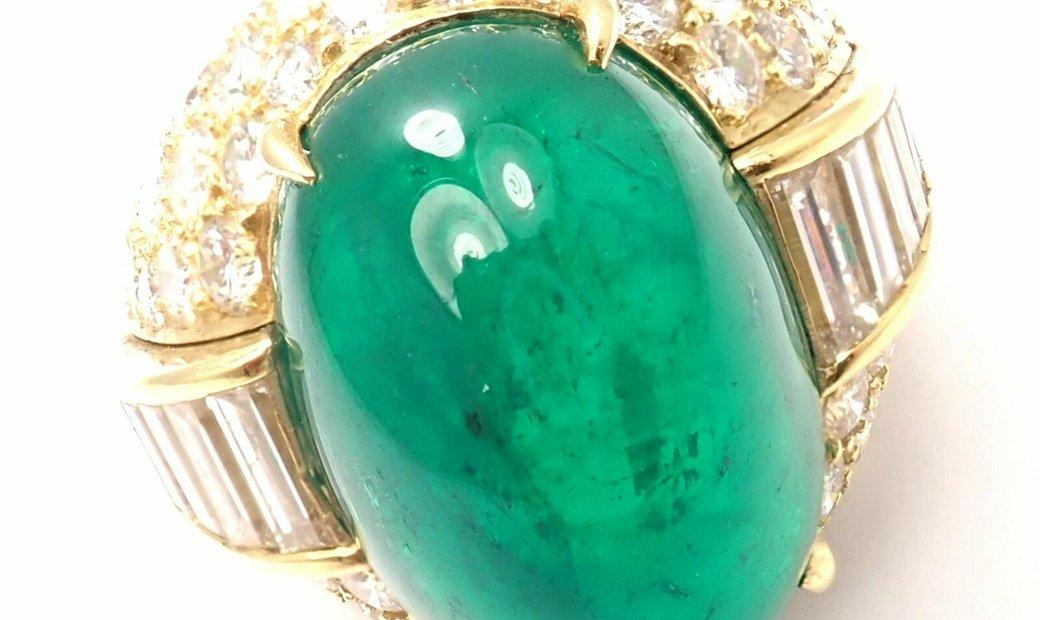 David Webb Yellow Gold 18k Diamond Large Colombian Emerald Ring