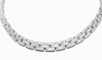 Cartier 18k White Gold Maillon Panthere 15ct Diamond Necklace