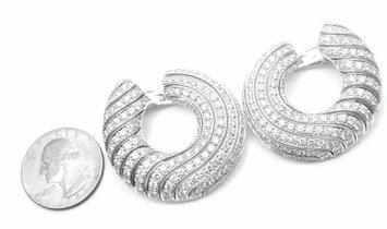 RARE! Cartier Neptune 18k White Gold Diamond Large Hoop Earrings