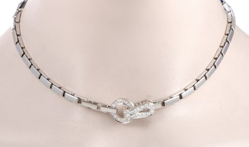 Cartier Cartier Agrafe 18K White Gold Diamond Choker Necklace