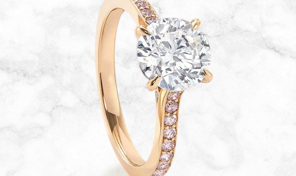 18K Rose Gold Harmony Round Brilliant Cut Diamond Ring