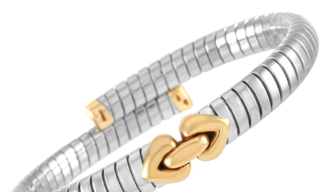 Bvlgari Bvlgari 18K Yellow Gold and Stainless Steel Tubogas Bracelet