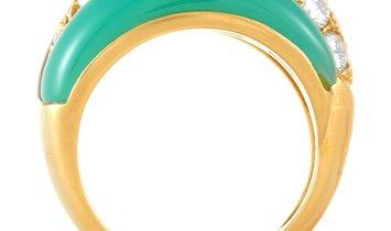 Van Cleef & Arpels Van Cleef & Arpels 18K Yellow Gold 1.51 ct Diamond, Chrysoprase and Onyx Ring