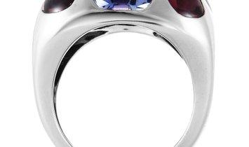Chanel Chanel 18K White Gold Amethyst and Semi Precious Stones Ring