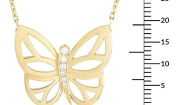 Van Cleef & Arpels Van Cleef & Arpels 18K Yellow Gold Diamond Butterfly Pendant Necklace