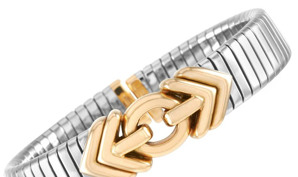 Bvlgari Bvlgari 18K Yellow Gold and Stainless Steel Tubogas Bracelet