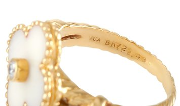 Non Branded Van Cleef & Arpels Vintage Alhambra 18K Yellow Gold Diamond and White Coral Ring