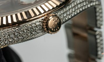 Rolex Datejust 41 126331 Bespoke Everose Rolesor Diamond Set Oyster Bracelet and Chocolate Dial