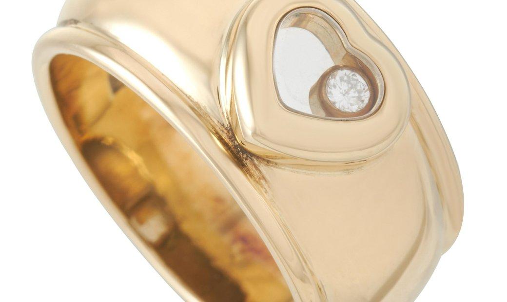 Chopard Chopard Happy Diamonds 18K Yellow Gold Diamond Heart-Shaped Ring