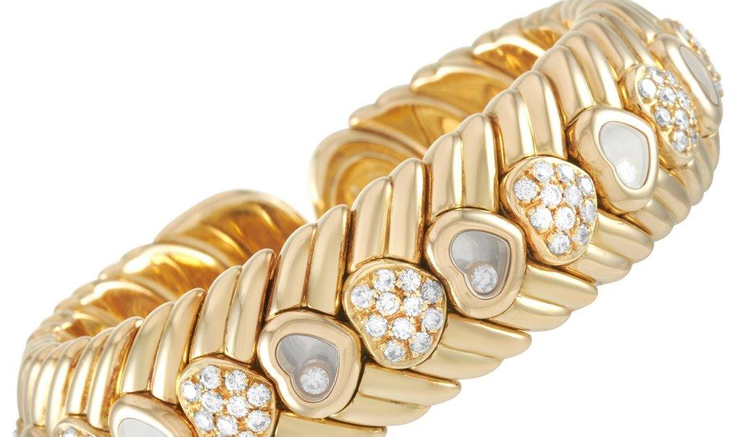Chopard Chopard Happy Diamonds 18K Yellow Gold ~2.75 ct Diamond Heart Bangle Bracelet